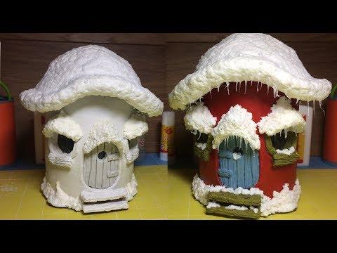 DIY DAS Paper Clay, Christmas Mushroom  Fairy House Night Light Lantern , How To Make