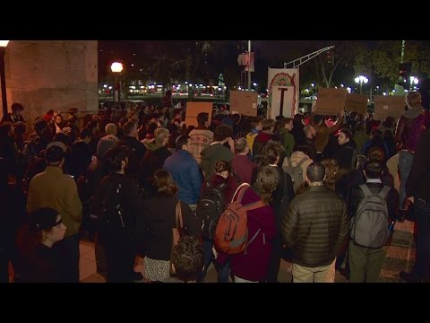 Anti-Trump protesters rally in New Haven