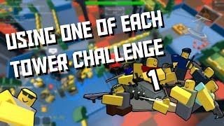 Using ONE of each Tower Challenge [Roblox Tower Defense]