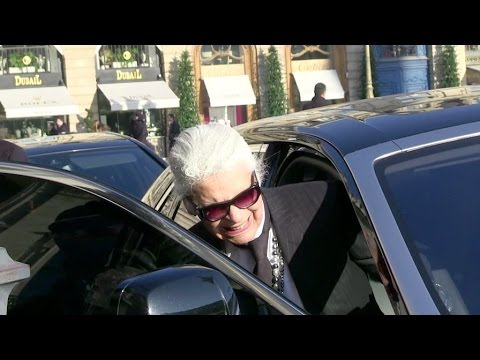 EXCLUSIVE:  Karl Lagerfeld in front of the Ritz Paris hotel