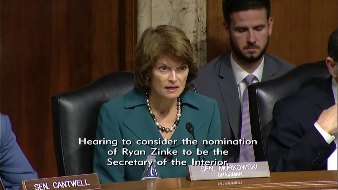 Sen Murkowski Questions Rep Ryan Zinke at Nomination Hearing YouTube