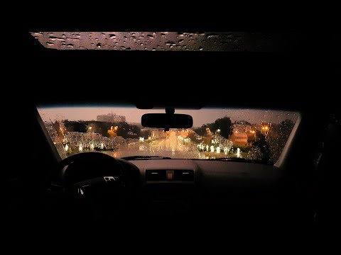 Thunderstorm Sounds from a Car with Relaxing Fluctuating Rain Intensity and Light Rolling Thunder