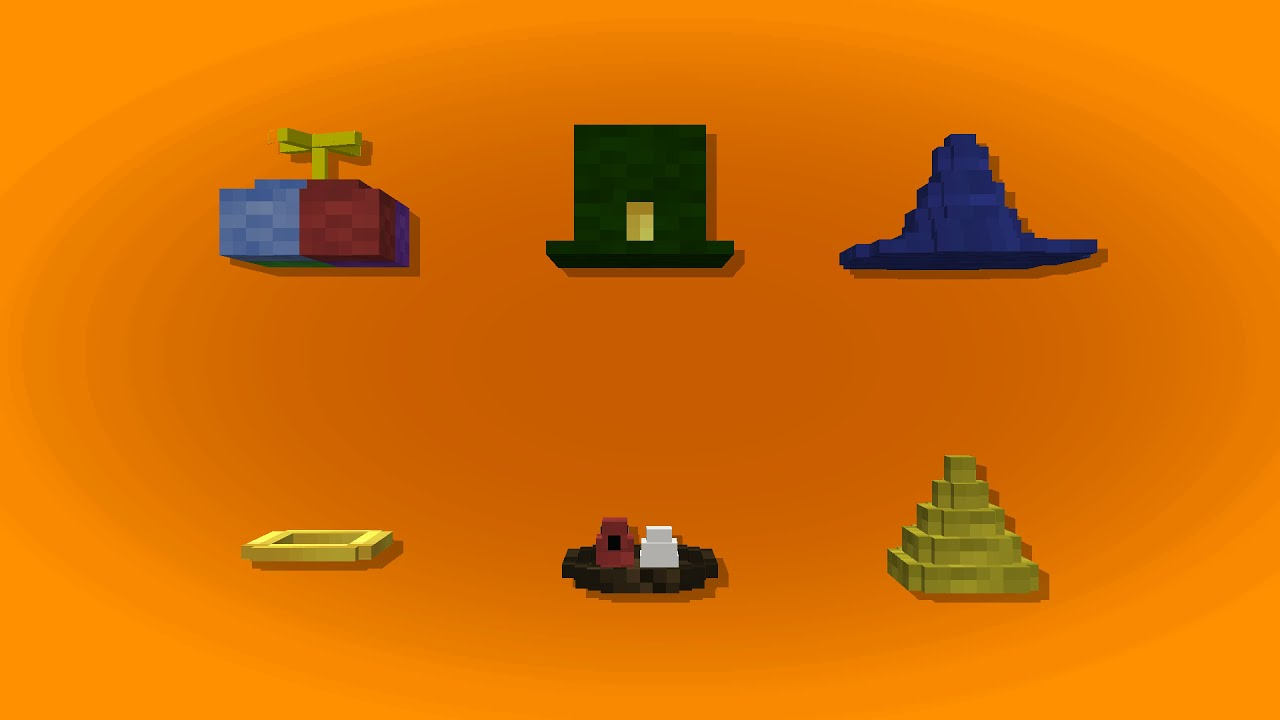 Minecraft - Hats+ in one command (With 3d Models) - YouTube