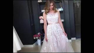 Легкое пудровое свадебное платье Виталия