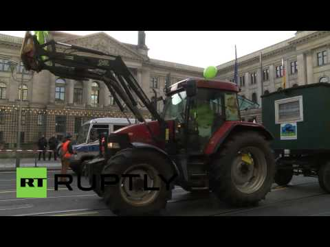 Germany: See army of TRACTORS invade central Berlin