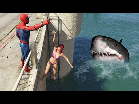 GTA 5 Water Ragdolls | MEGALODON vs Spider-Man Jumps/Fails ep.48