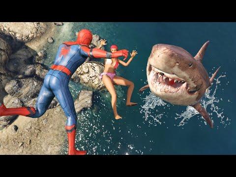 GTA 5 Water Ragdolls | MEGALODON vs Spider-Man Jumps/Fails ep.48