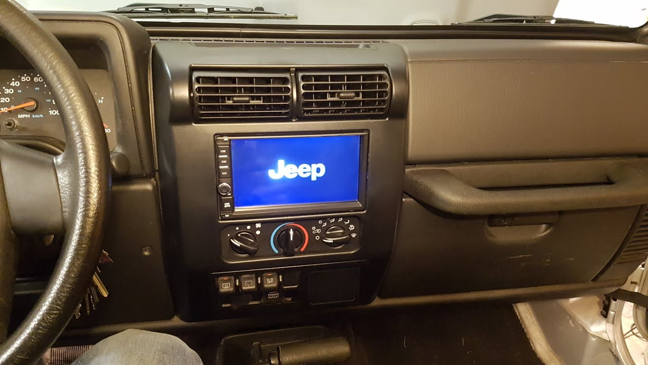medium resolution of 97 06 jeep wrangler tj double din stereo installation android navigation
