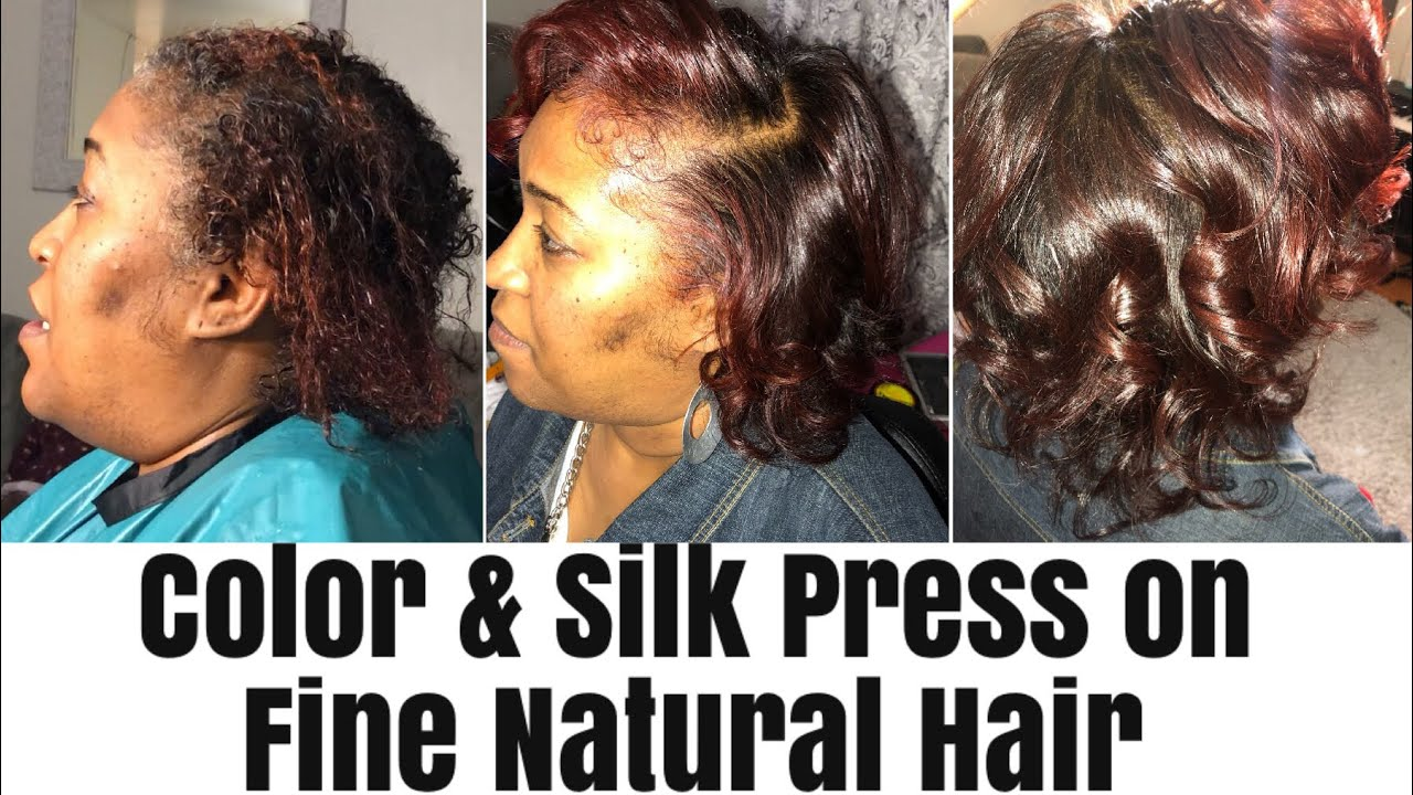 Color and Silk Press on Fine Natural Hair