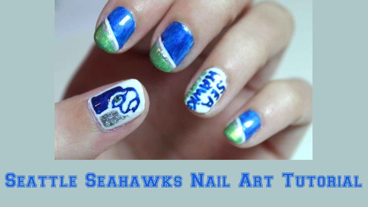 Tutorial: Seattle Seahawks Nail Art - YouTube
