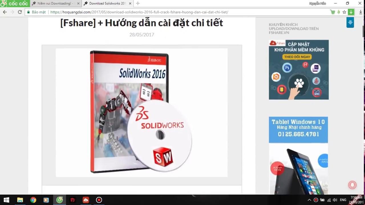 Tải Hướng dẫn cài đặt và Cờ rắc phần mềm SolidWorks 2016