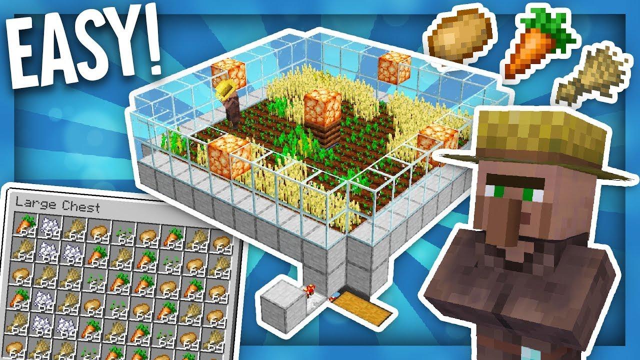 SUPER EASY AUTO VILLAGER FOOD FARM - Minecraft Tutorial ...