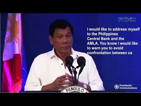 Duterter Calling Philippine Central Bank to give light about money laundering