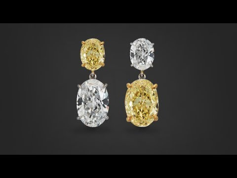 Fancy Intense Yellow And White Diamond Earrings 5 80 Carats
