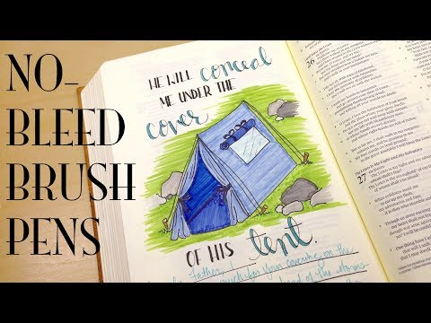 Bible Journaling: NO-BLEED Brush Pens | Under the Cover of His Tent (Psalm 27)