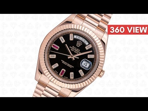 Rolex Day-Date II 18ct Everose Gold Black Dial With Diamonds And Rubies 218235 - Time4Diamonds