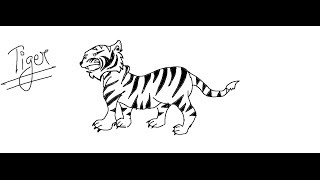 drawing tiger cartoon easy draw drawings paintingvalley