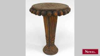 Antique Rustic Continental Carved Tramp Art Style End Table