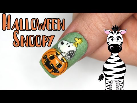 3D Halloween Snoopy Acrylic Nail Art Tutorial thumbnail