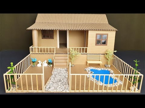 Cara Membuat Miniatur Rumah Pedesaan dari Stik Es Krim.