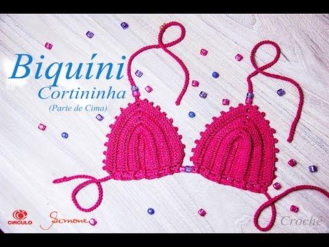 5d30a4f61 Biquíni de Crochê Cortininha | parte de cima | 1 à 12 anos| Professora  Simone