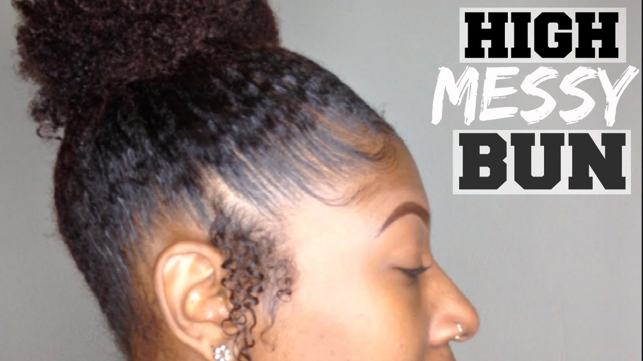 How To Do A Black Girl High Messy Bun Ponytail Natural Girl Wigs