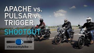 150cc Bikes Shootout – Apache RTR 160 Vs Pulsar 150 DTSi Vs CB Trigger