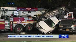 Firefighter in serious condition after firetruck crash in Brooklyn
