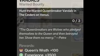 Destiny House of Wolves Bounty Hunt the Wanted Queenbreaker Vandals in The Cinders on Venus Location