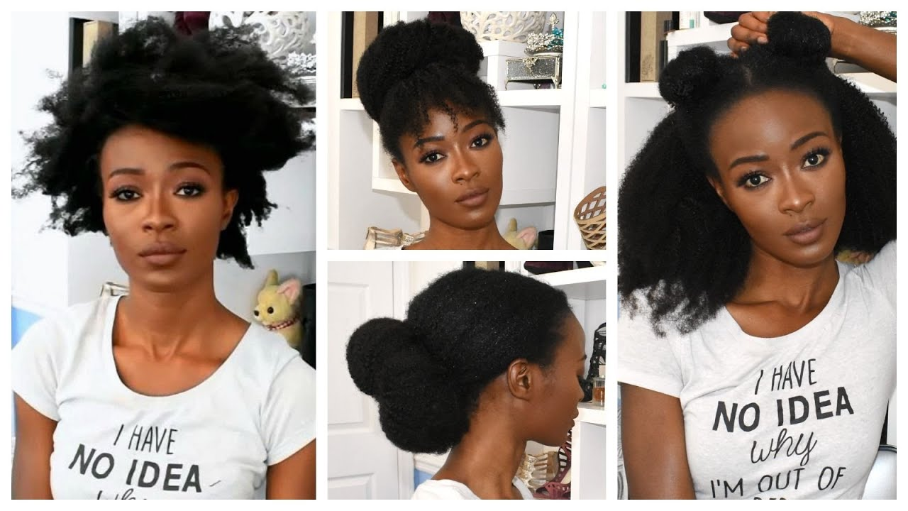 6 No Comb Natural Hairstyles Using 4b 4c Afro Kinky Clips Ins