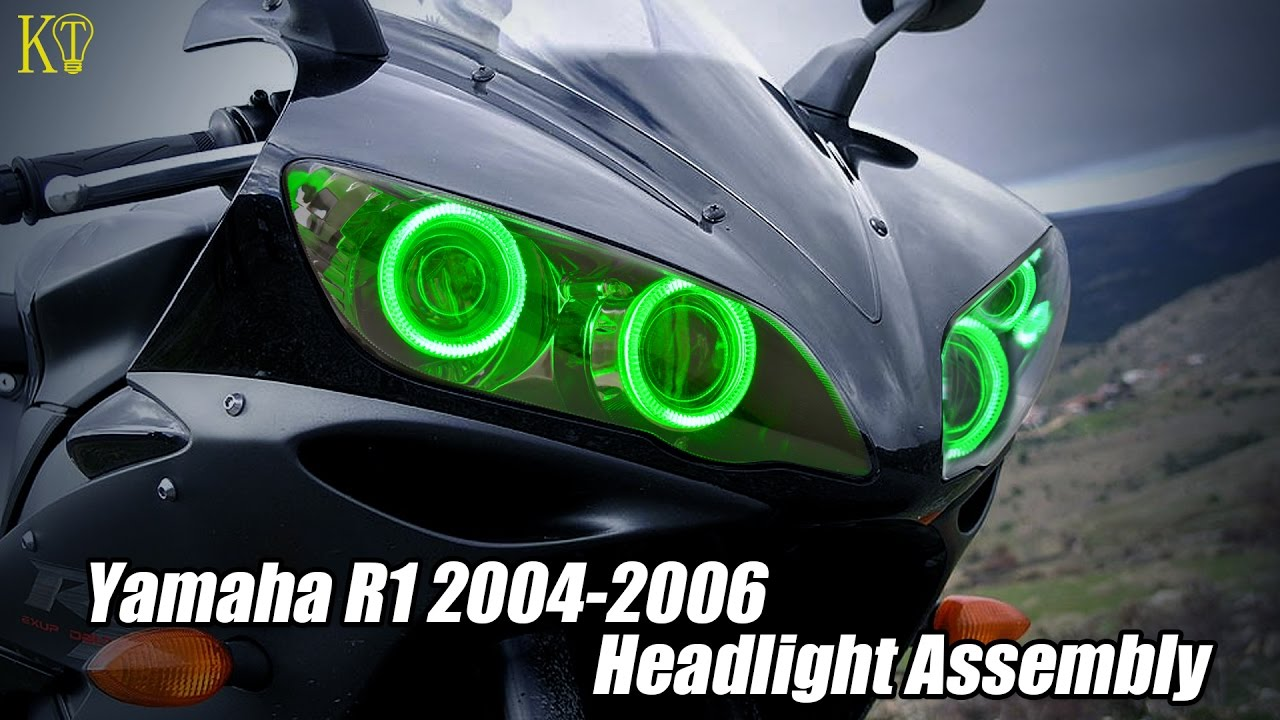 Hid Bi Xenon Motorcycle Projector Yamaha R1 04 Wiring Diagram Free Schematic For 2004 Kt Custom Led Headlight Assembly Fit 2006 Youtube