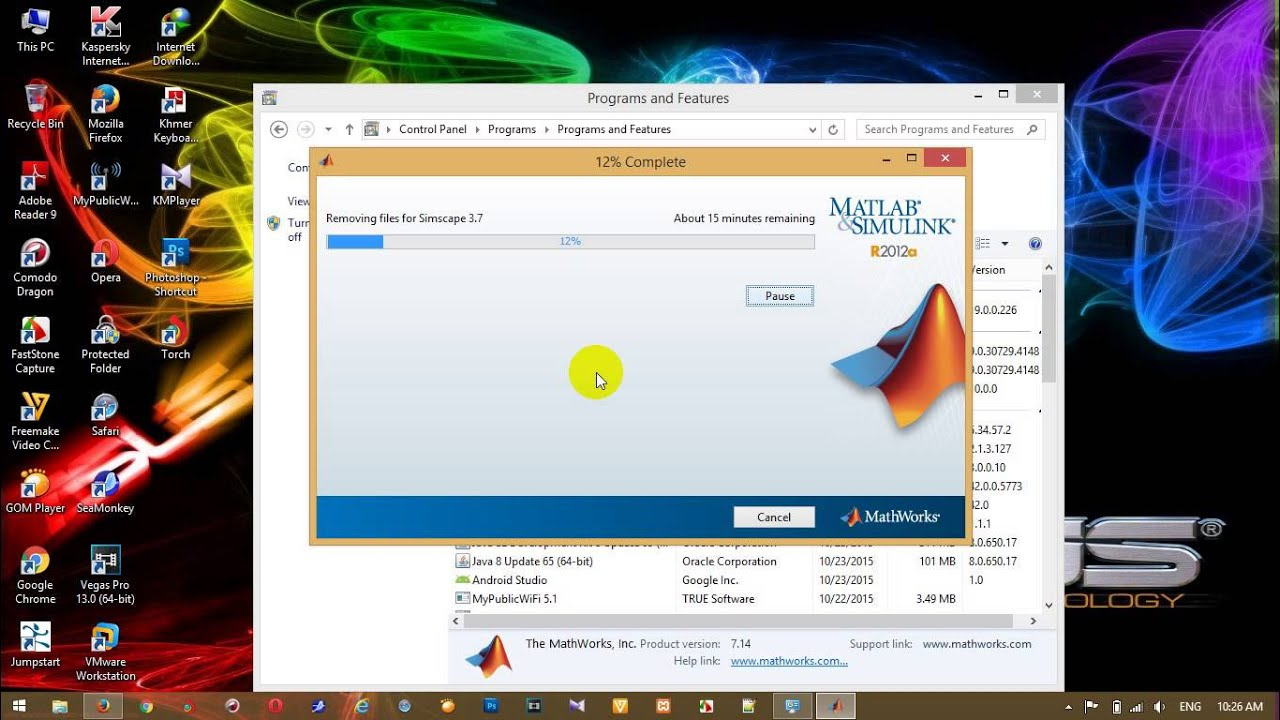 How to uninstall MatLab R2012a