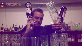 Danish cocktail bartender show off his pour skills