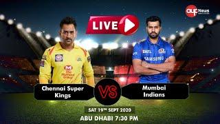 🔴LIVE IPL 2020 -  Live Match IPL 2020 Live Score  | MI vs CSK | Today Live IPL Match