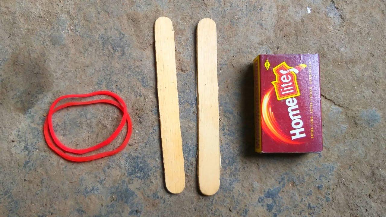 Download how to make gun shoot ice cream stick rubber band Machis box easy DIY
