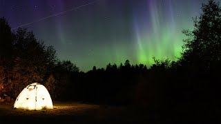 One day in the taiga camp - fishing, bushcraft, north Russia, northern lights