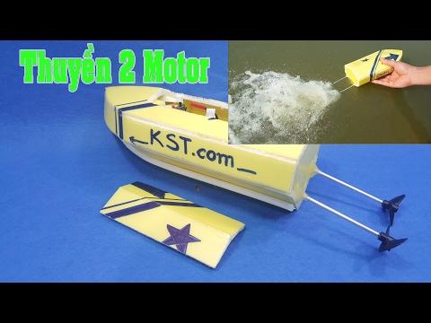 Chế Thuyền 2 Động Cơ Mini từ Motor 180
