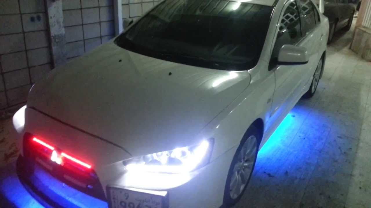 mitsubishi lancer gts 2008 custom neon body kit knight rider head tail lights youtube