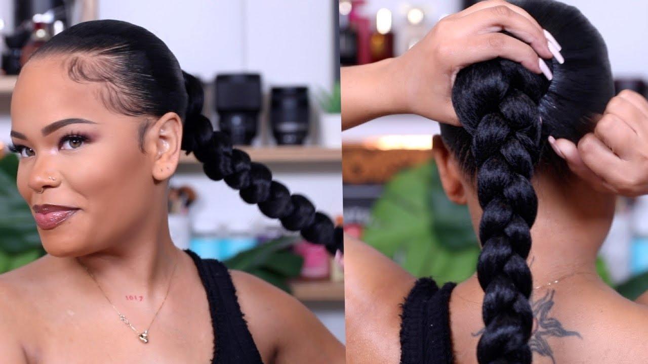 Super Sleek Long Braided Ponytail On Natural Hair Protective Style Arnellarmon Youtube