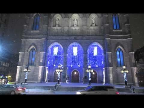 Basilique Notre-Dame De Montréal During A Canadian Winter Snowfall In MontréalQuébec Canada