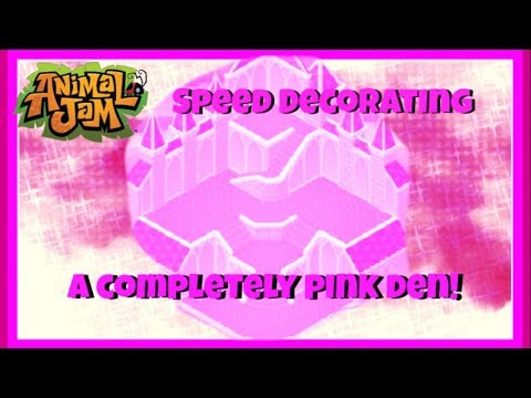 Animal Jam: Speed Decorating A Completely Pink Den! Only Pink Items! {Uniquely Unicolor Series}