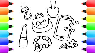 How to Draw Girl Stuff Easy! Bracelet, Lipstick, Pink Smartphone, Cute Bag, Diamond Ring & More!