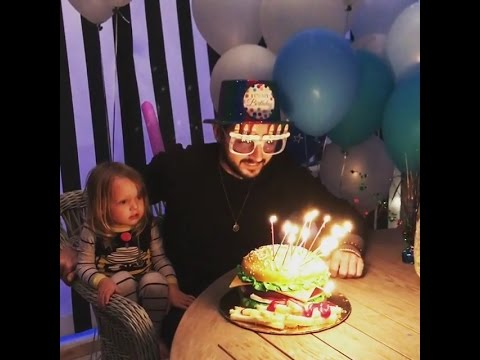Matthew Rutler celebrates his 32nd birthday with Christina Aguilera & Summer Rain (5/Apr/17)
