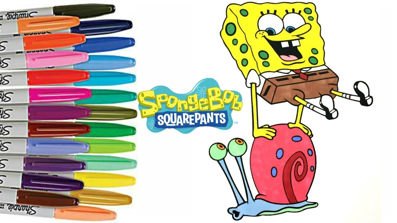 spongebob squarepants and gary the snail coloring book page how to
