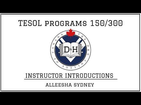 TESOL Course 150/300 Program - Instructor Bio of Alleesha Sydney