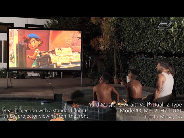 Elite Screens Yard Master 2 WraithVeil® Dual in Costa Mesa, CA | Front and Rear Projector Screen