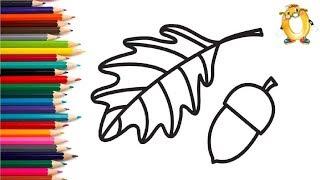 Раскраска для детей ДУБОВЫЙ ЛИСТ И ЖЁЛУДЬ. Мультик - Раскраска. Учим цвета II ОБУЧАШКА ТВ