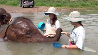 Milena, Morgan, and bath time