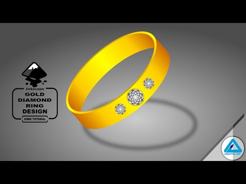 3D Gold daimond ring | inkscape | HINDI tutorial