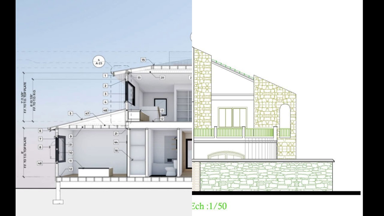Villa moderne avec plan complet en dwg youtube for Plan complet maison